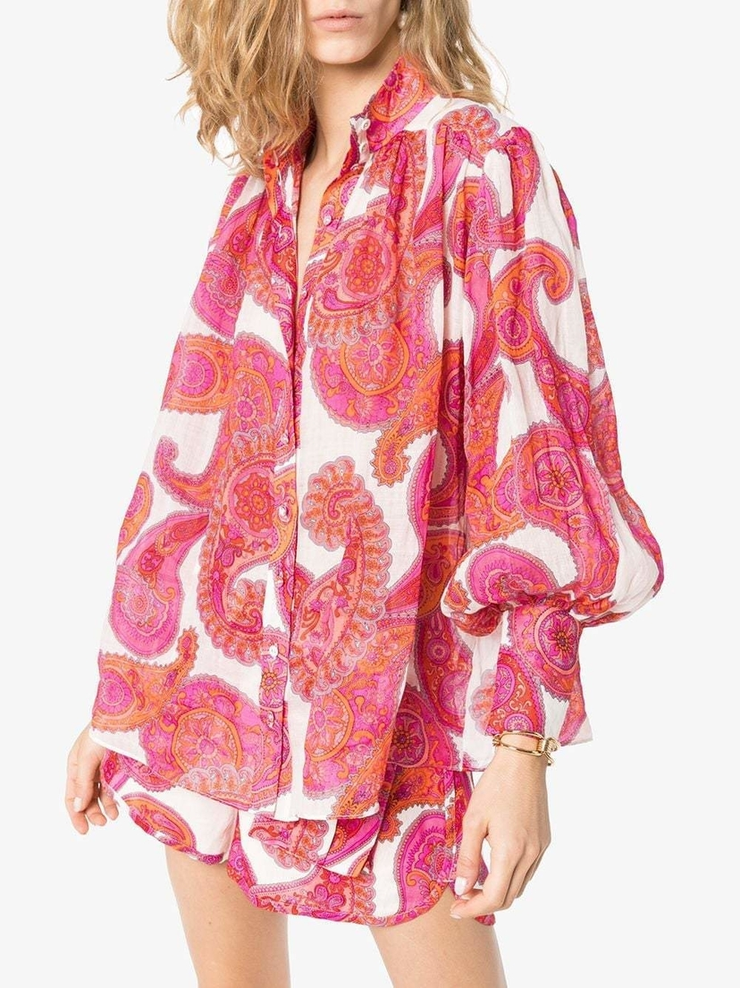 Zimmermann Peggy Paisley Shirt Tops