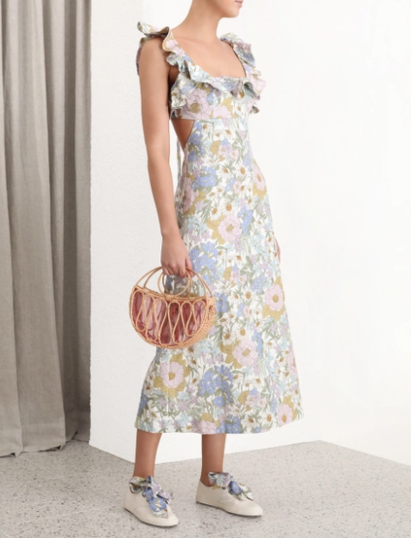 Zimmermann Super Eight Frilled Midi Dress - Blue Meadow Dresses