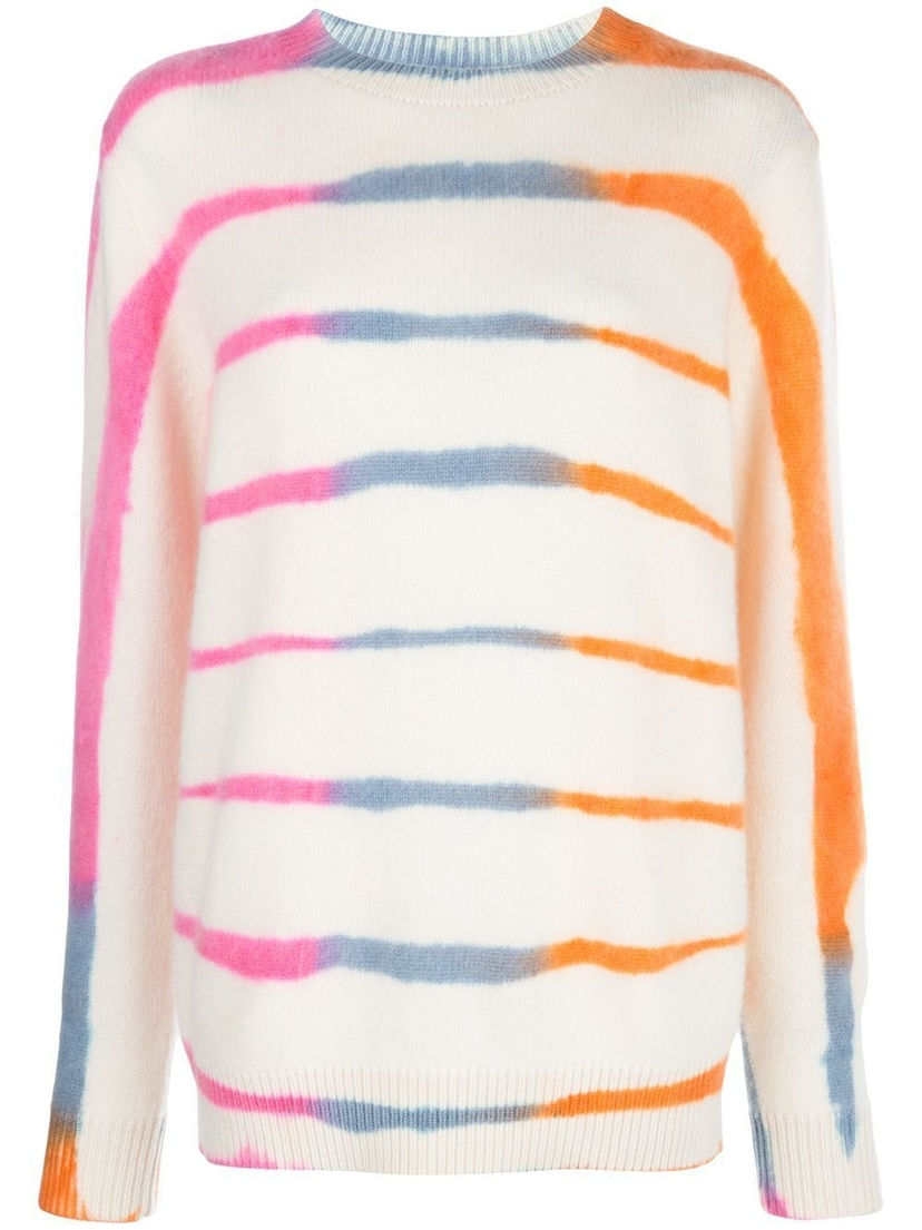 The Elder Statesman Striped Tie Dye Knit Sweater Tops