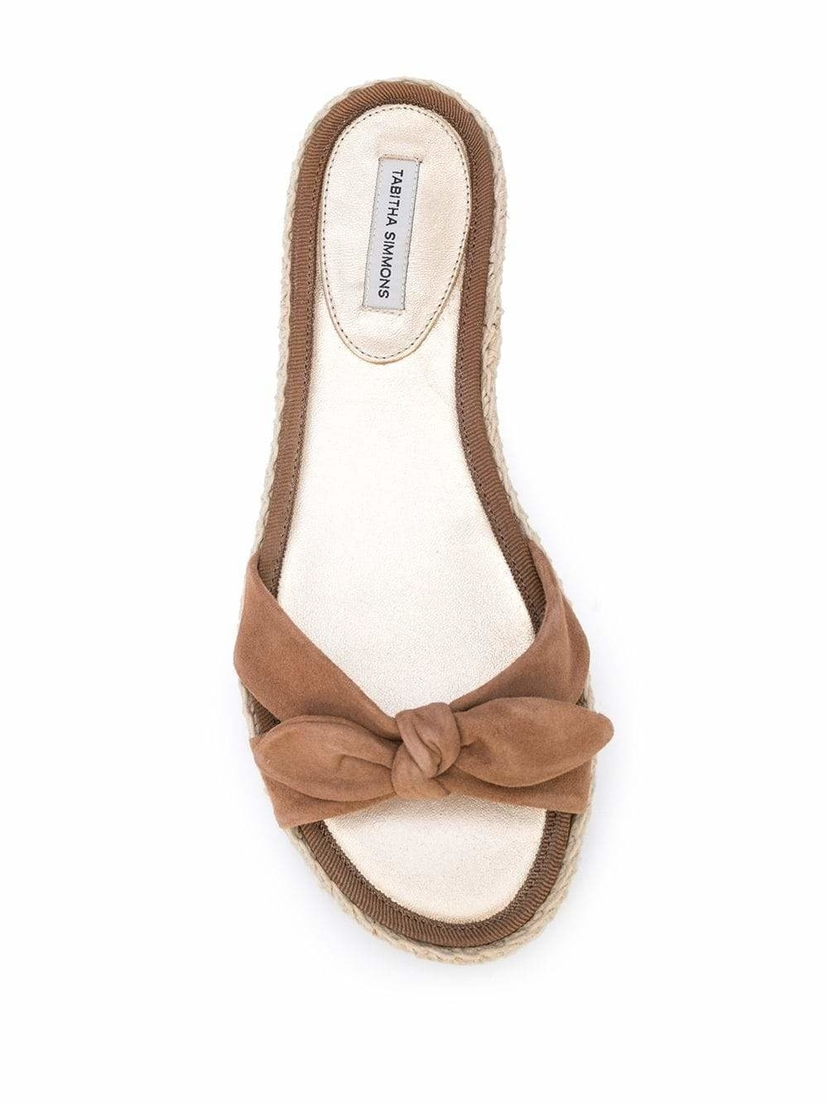 Tabitha Simmons Double Crossover Bow Suede Slides Sale Shoes
