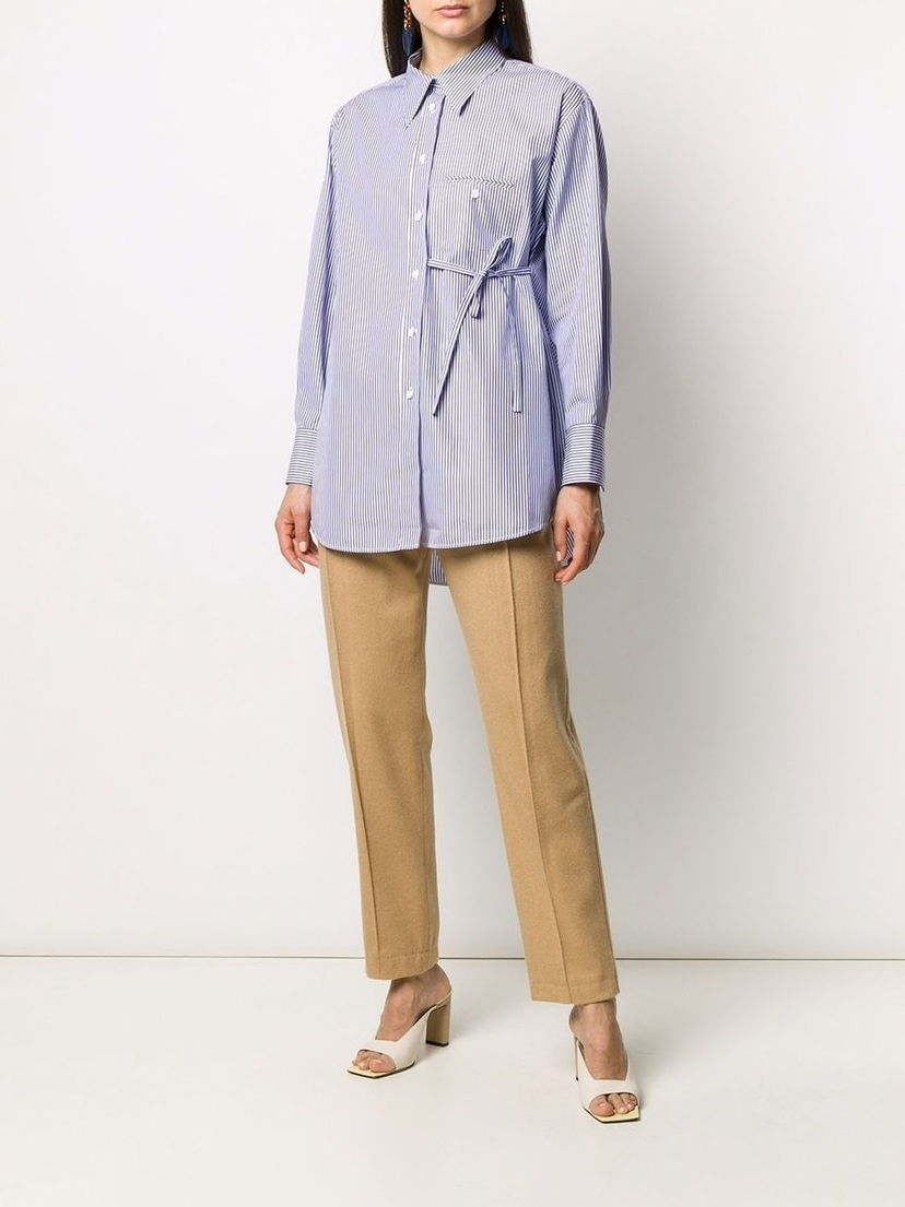 Chloé Long Sleeve Striped Shirt with Side Tie Sale Tops