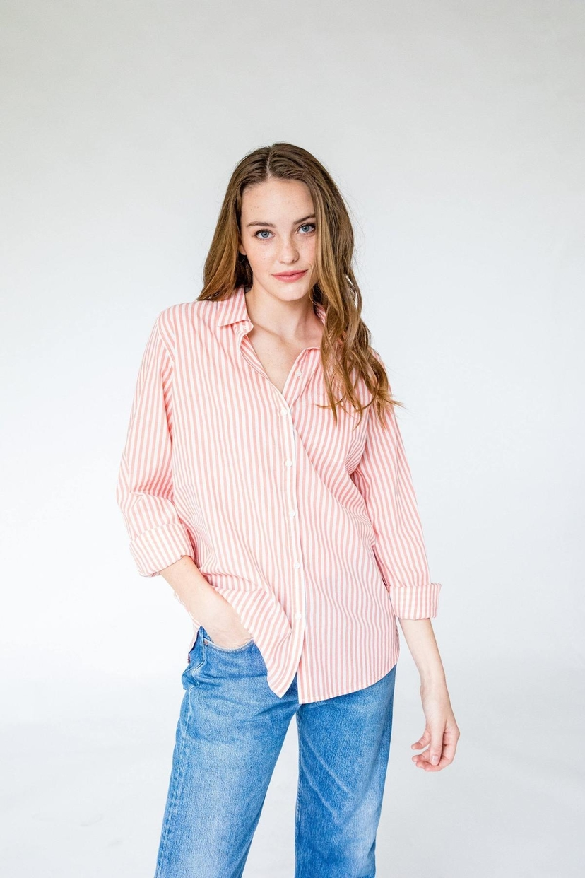 Trovata GRACE CLASSIC SHIRT CORAL/WHITE STRIPE Tops