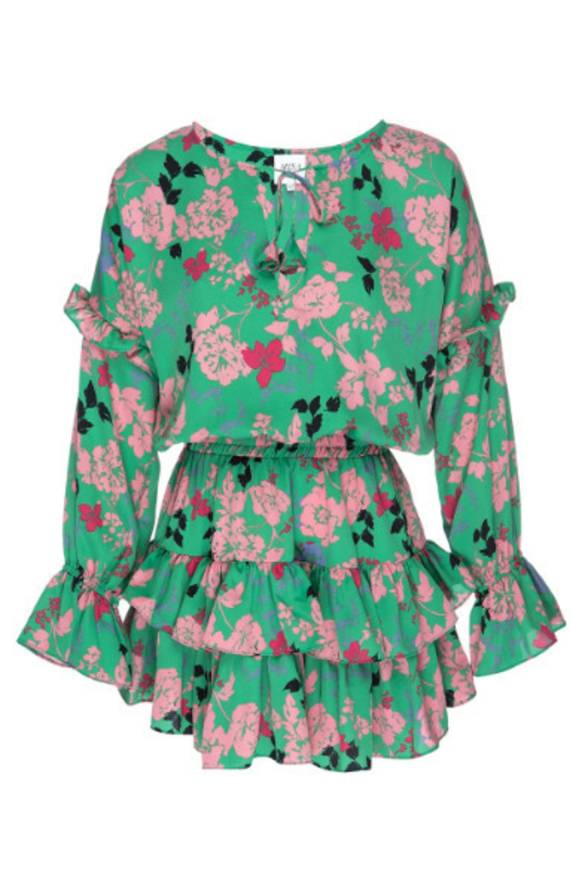 MISA Amalya Floral Tiered Mini Dress - Peony Dresses Sale