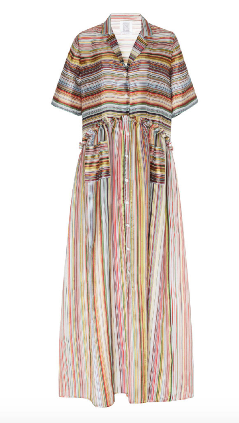 Rosie Assoulin Rainbow Gathered Shirt Dress Dresses Sale