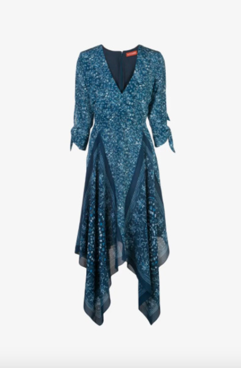 Altuzarra Elvira Handkerchief Hem Dress - Deep Teal Dresses Sale