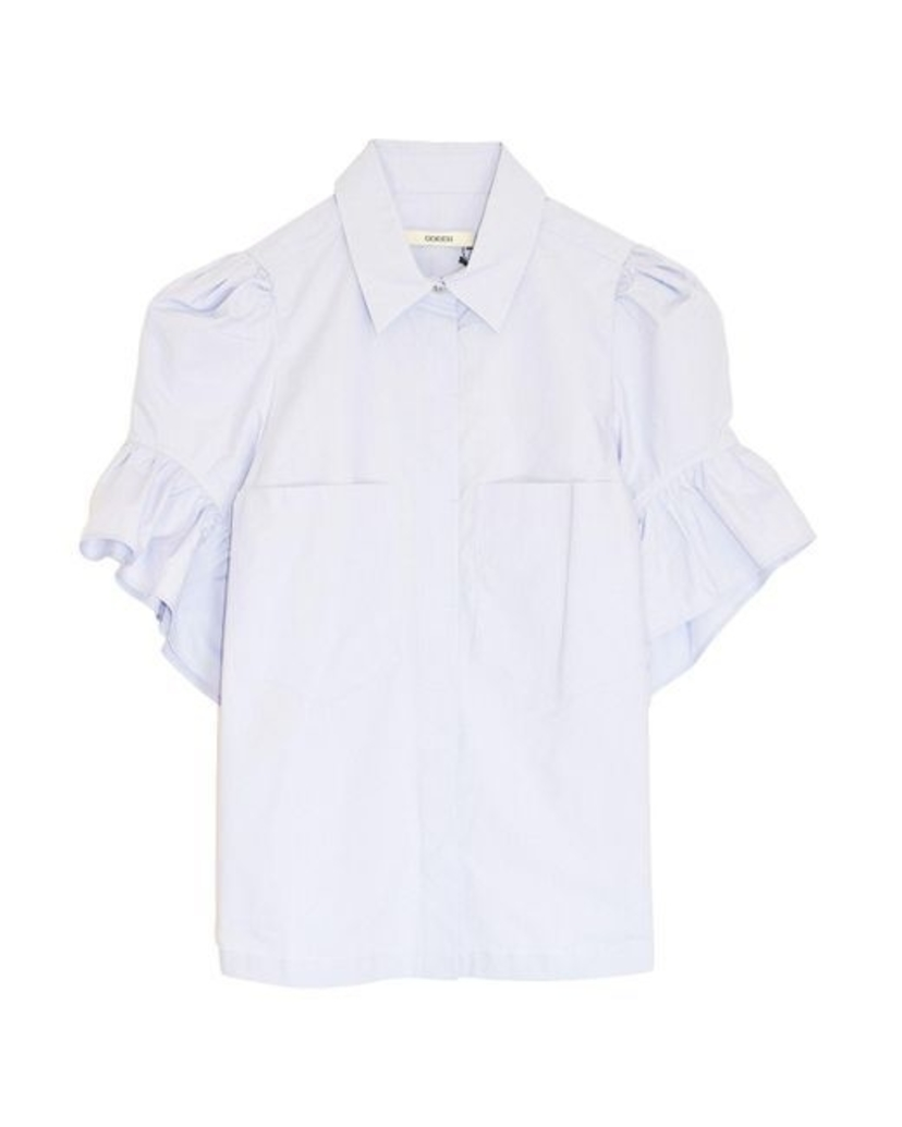 Odeeh Button Down Top with Ruffle Sleeve - White Sale
