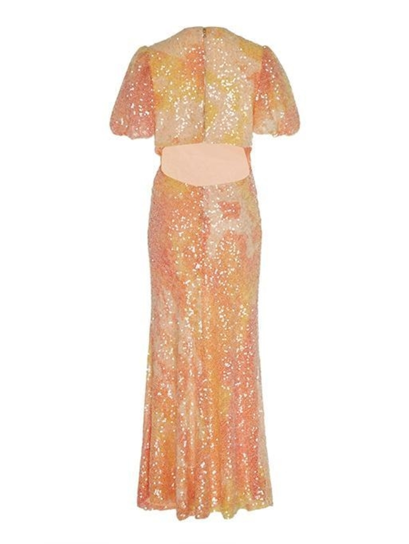 Markarian Harlow Short-Sleeve Sequin Gown Dresses