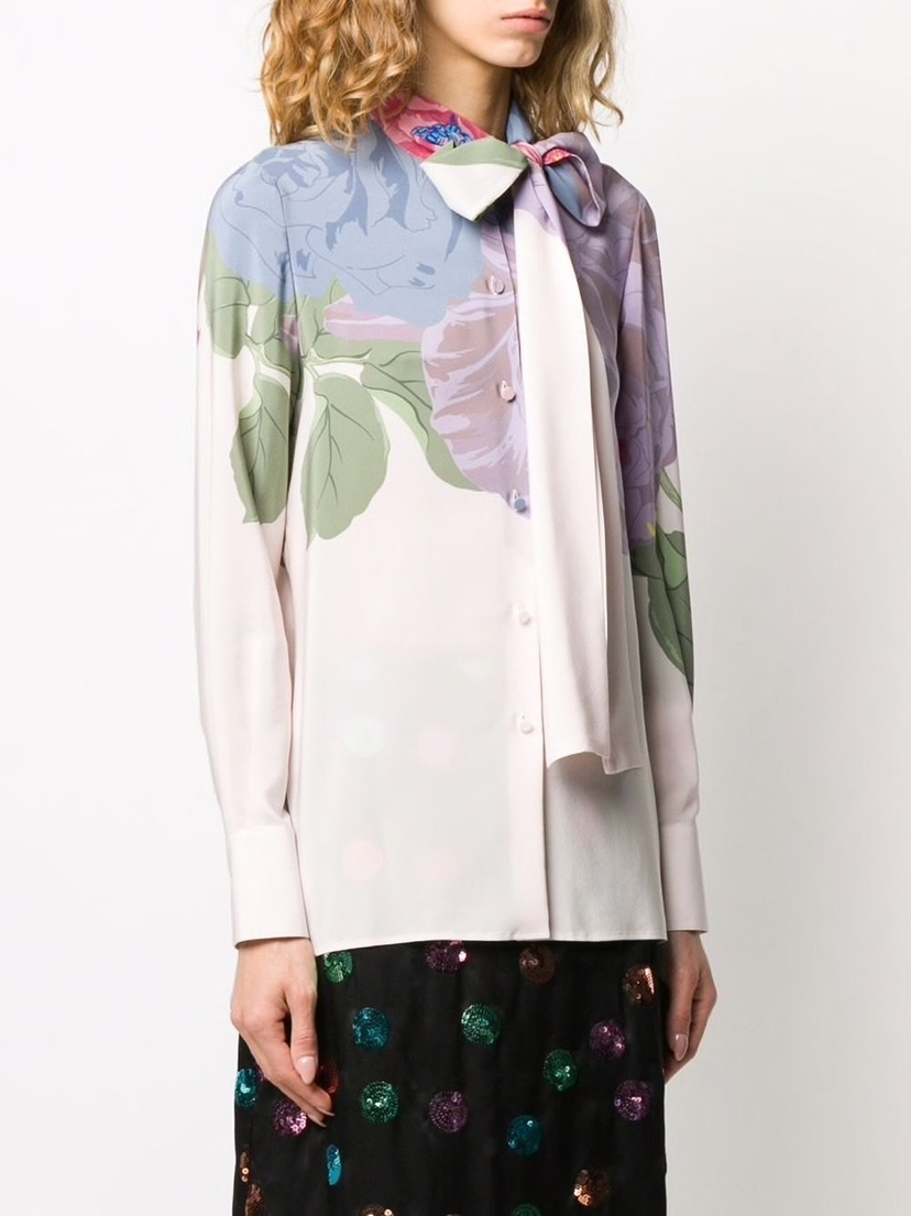 Valentino Tie Neck Silk Floral Print Top Sale Tops