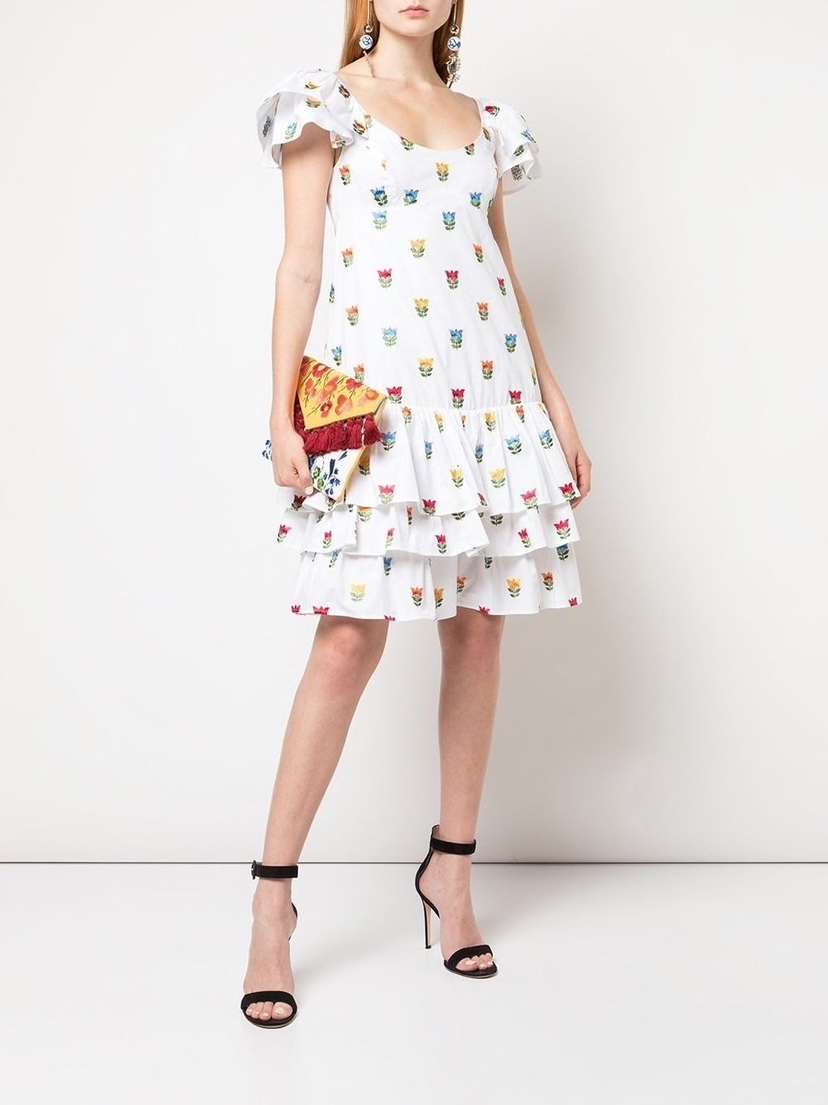 Carolina Herrera Embroidered Flowers Ruffled Dress Dresses Sale