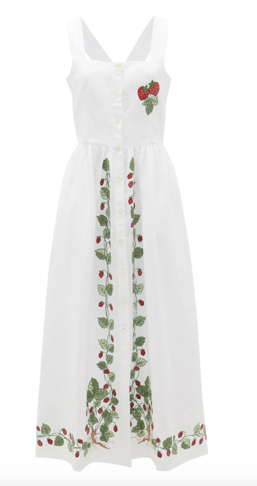 Loretta Caponi Strawberry Vine Dress Dresses