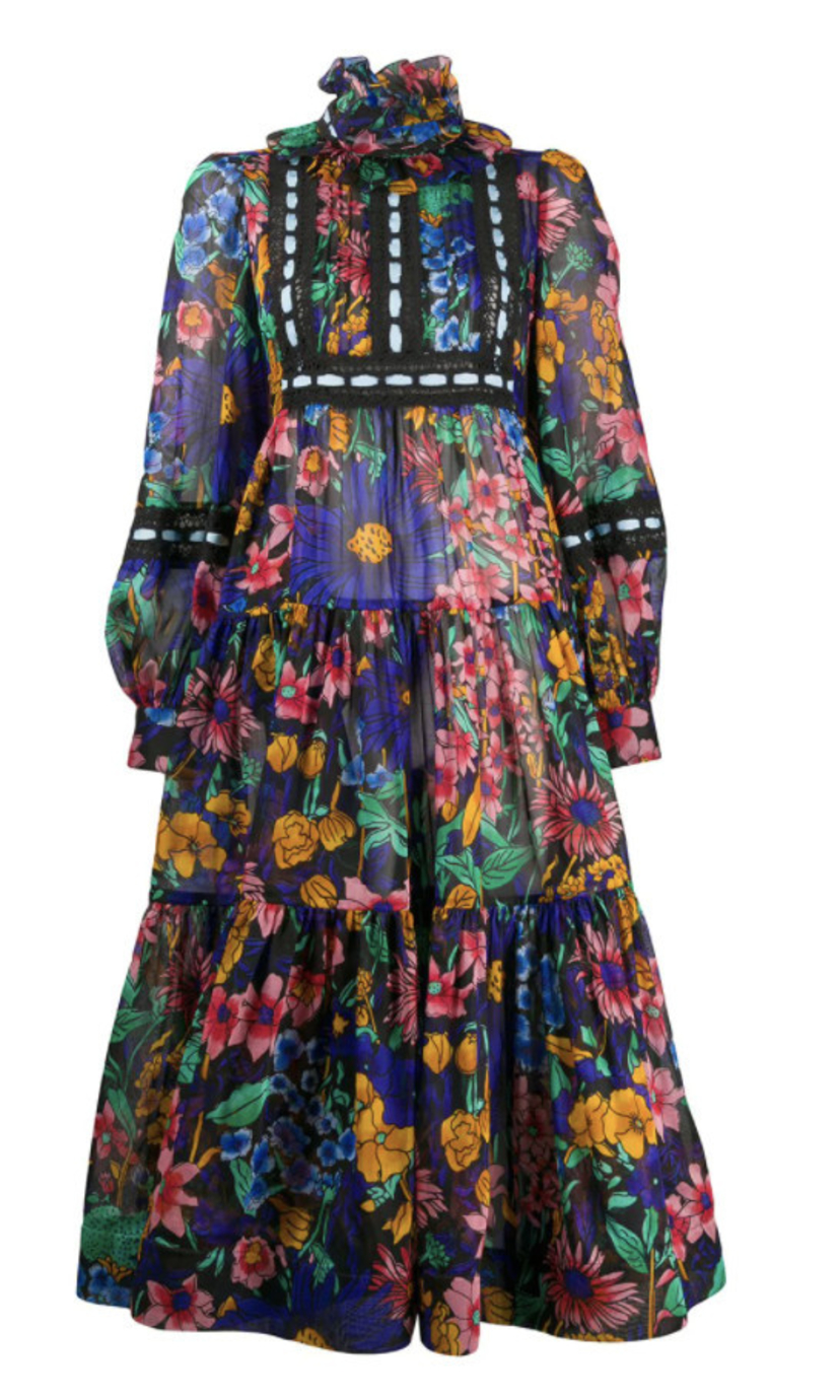 Marc Jacobs Floral Printed Voile Dress Dresses
