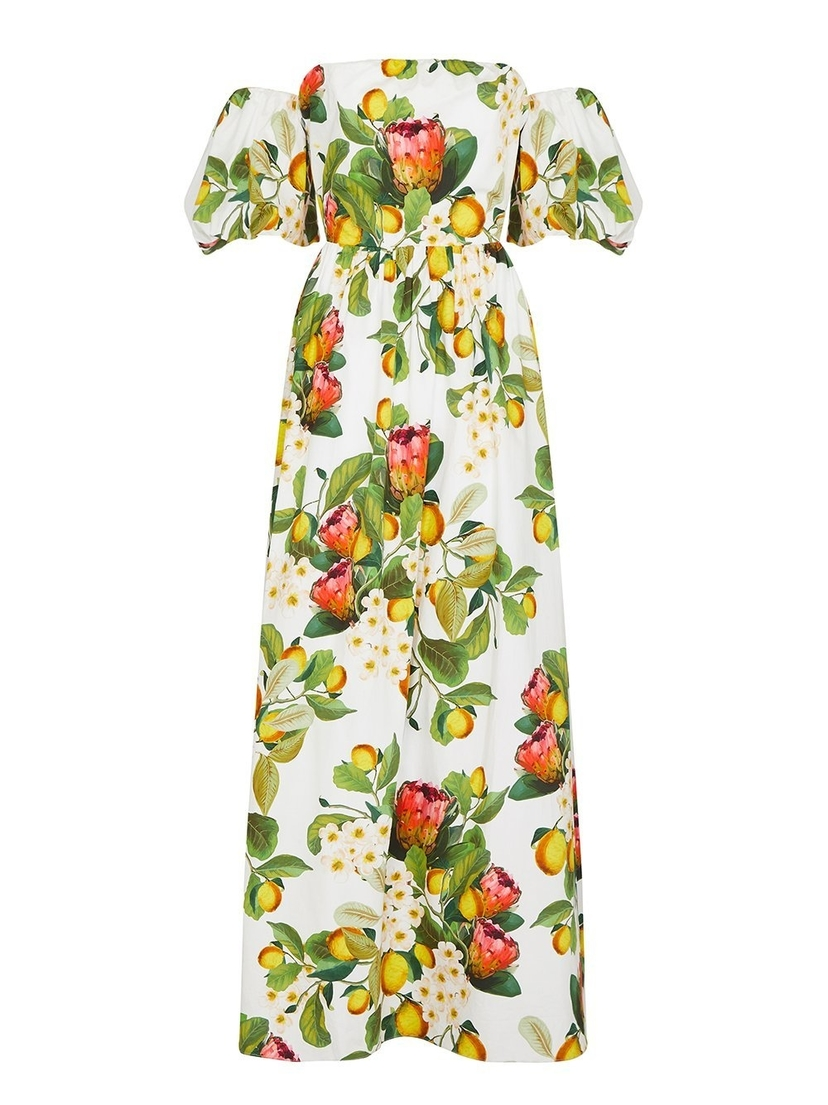 Borgo de Nor Juliette Puff-Sleeve Maxi Dress Dresses