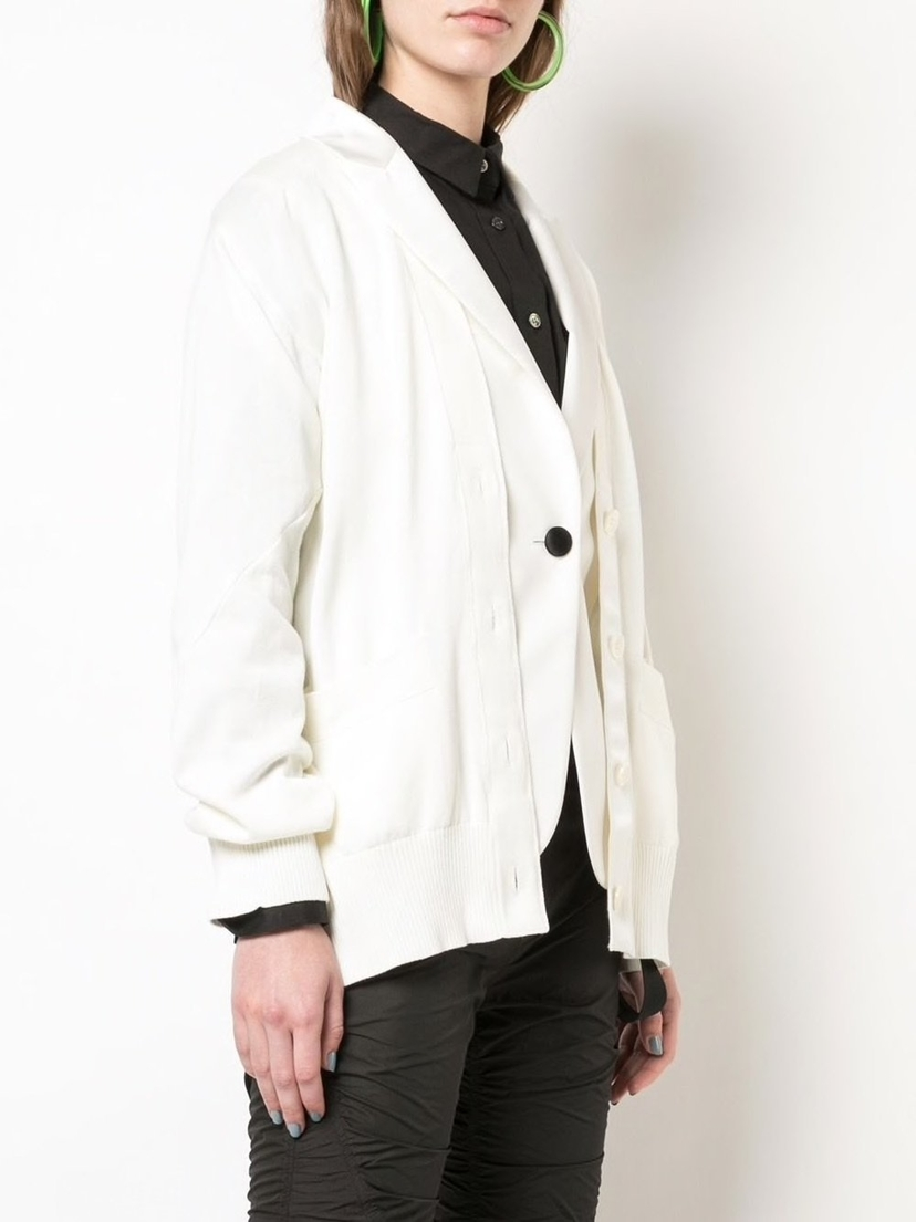 Sacai Knit Cardigan with Blazer Outerwear Sale