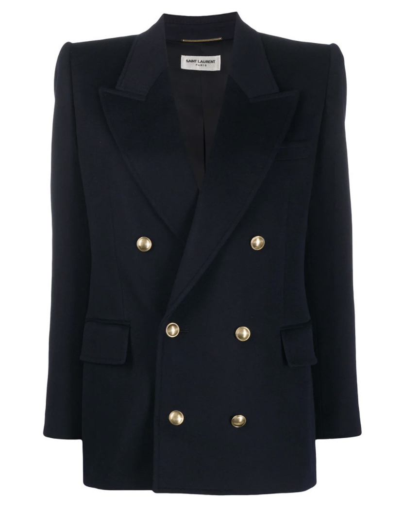 Saint Laurent Embossed-Buttons Double-Breasted Blazer Outerwear