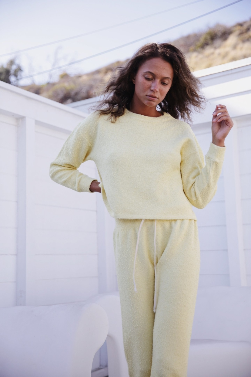 the lady  & the sailor VINTAGE SWEATSHIRT IN CITRUS YELLOW BOUCLE Tops