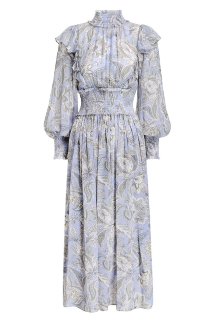 Zimmermann Lucky Shirred Midi Dress Dresses Sale