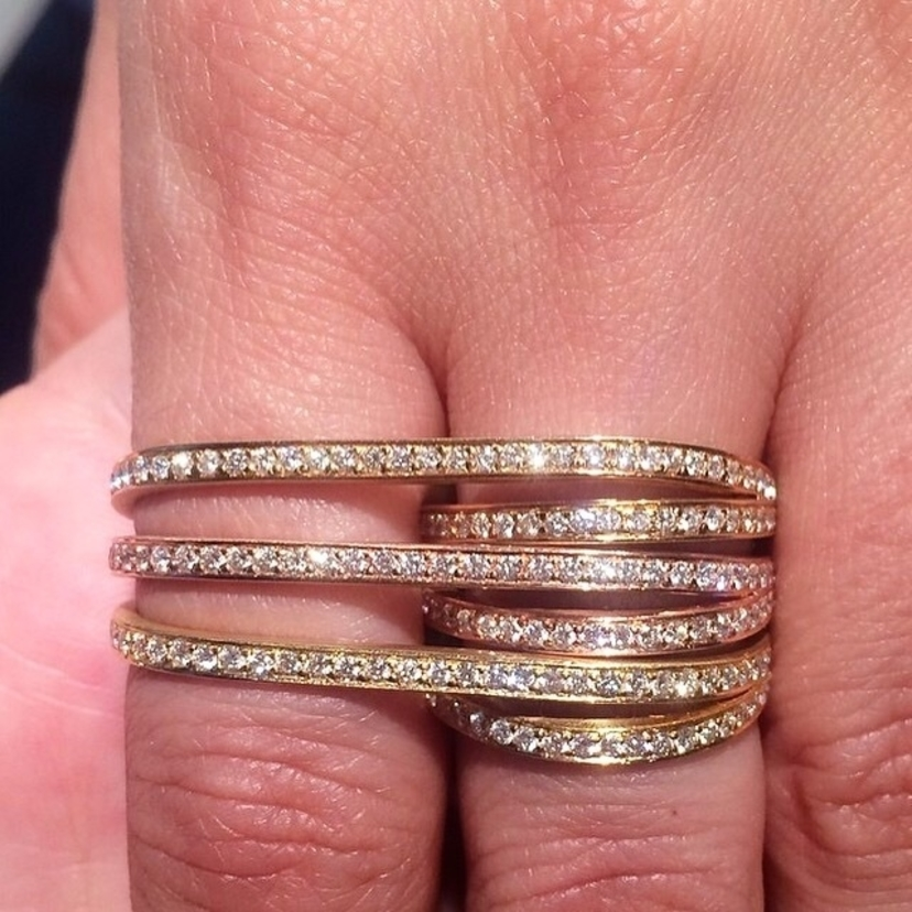 HALLEH 18k Gold Bondage ring with diamonds.  Diamonds Fine Jewelry Gold 18K Jewelry Rings Yellow Gold Ring rose gold ring