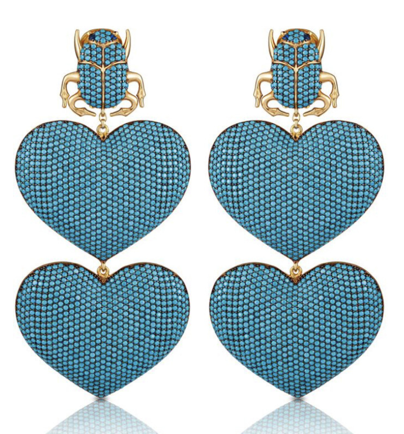 Begum Khan SCARAB HEART DROP EARRING Jewelry