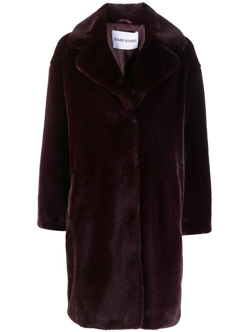 Stand Studio Camille Burgundy Faux Fur Teddy Coat Outerwear