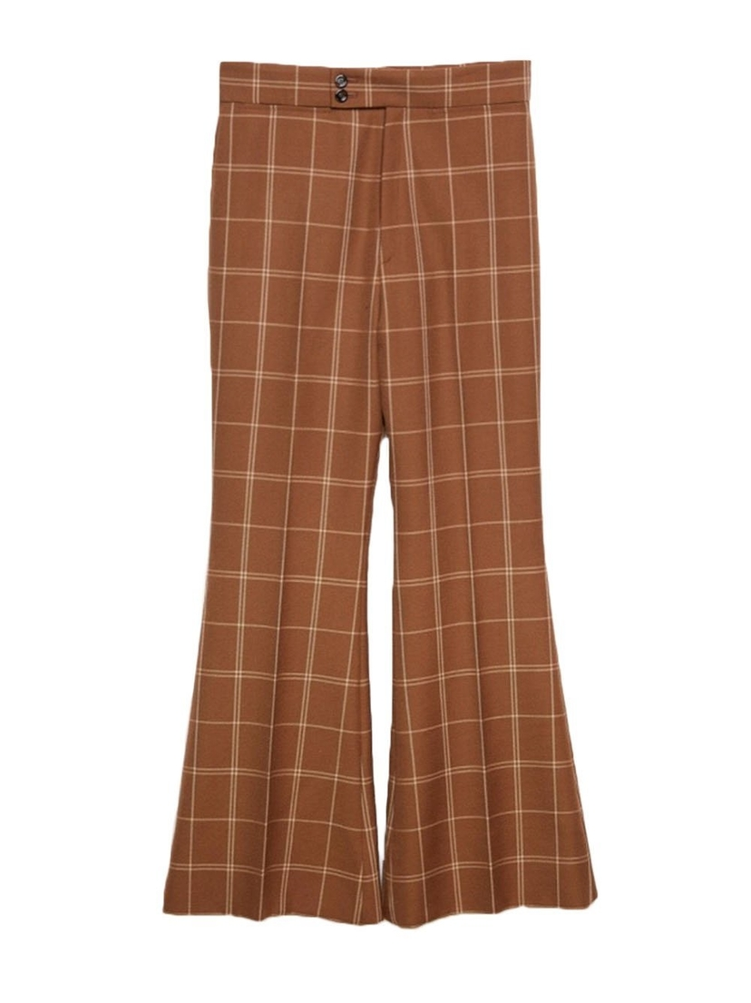 Gucci Check Flare Leg Pant Pants