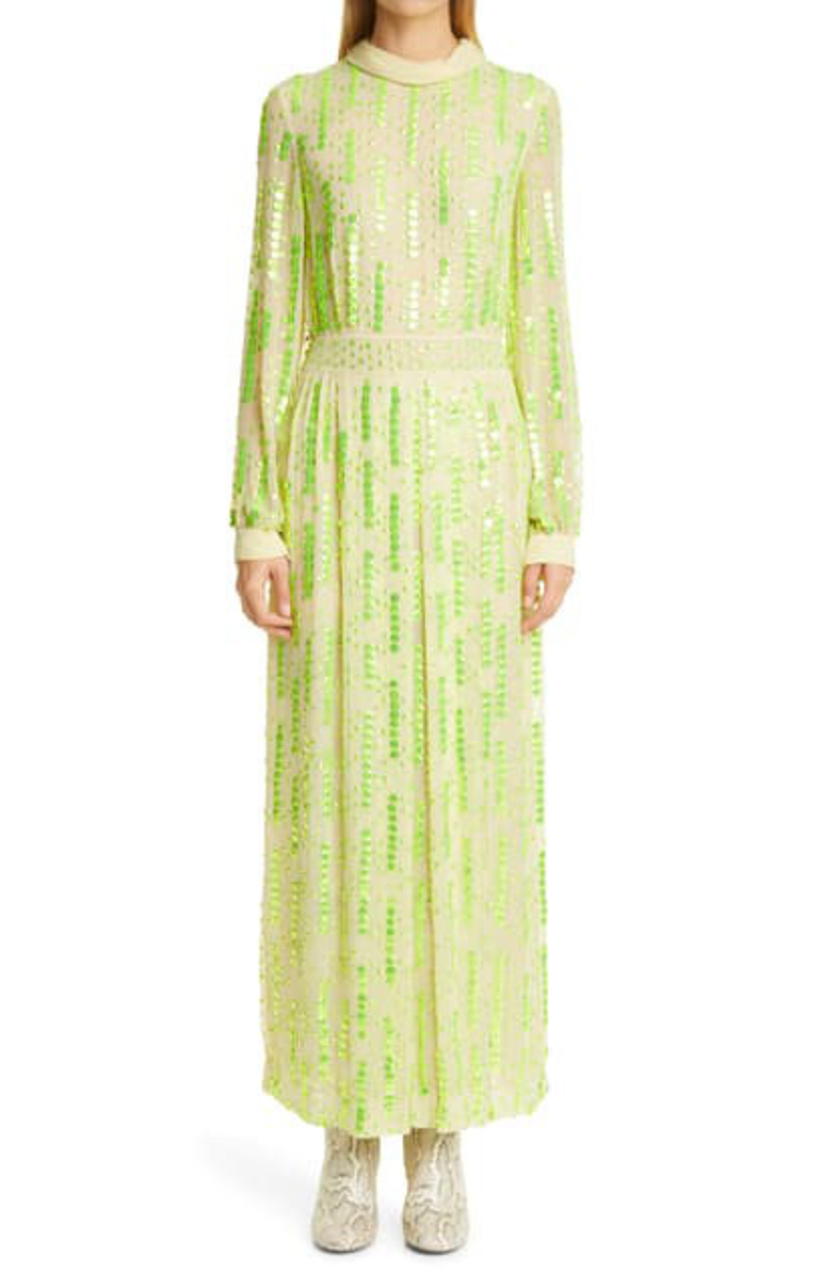 Dries Van Noten SEQUIN MOCK NECK MIDI DRESS Dresses