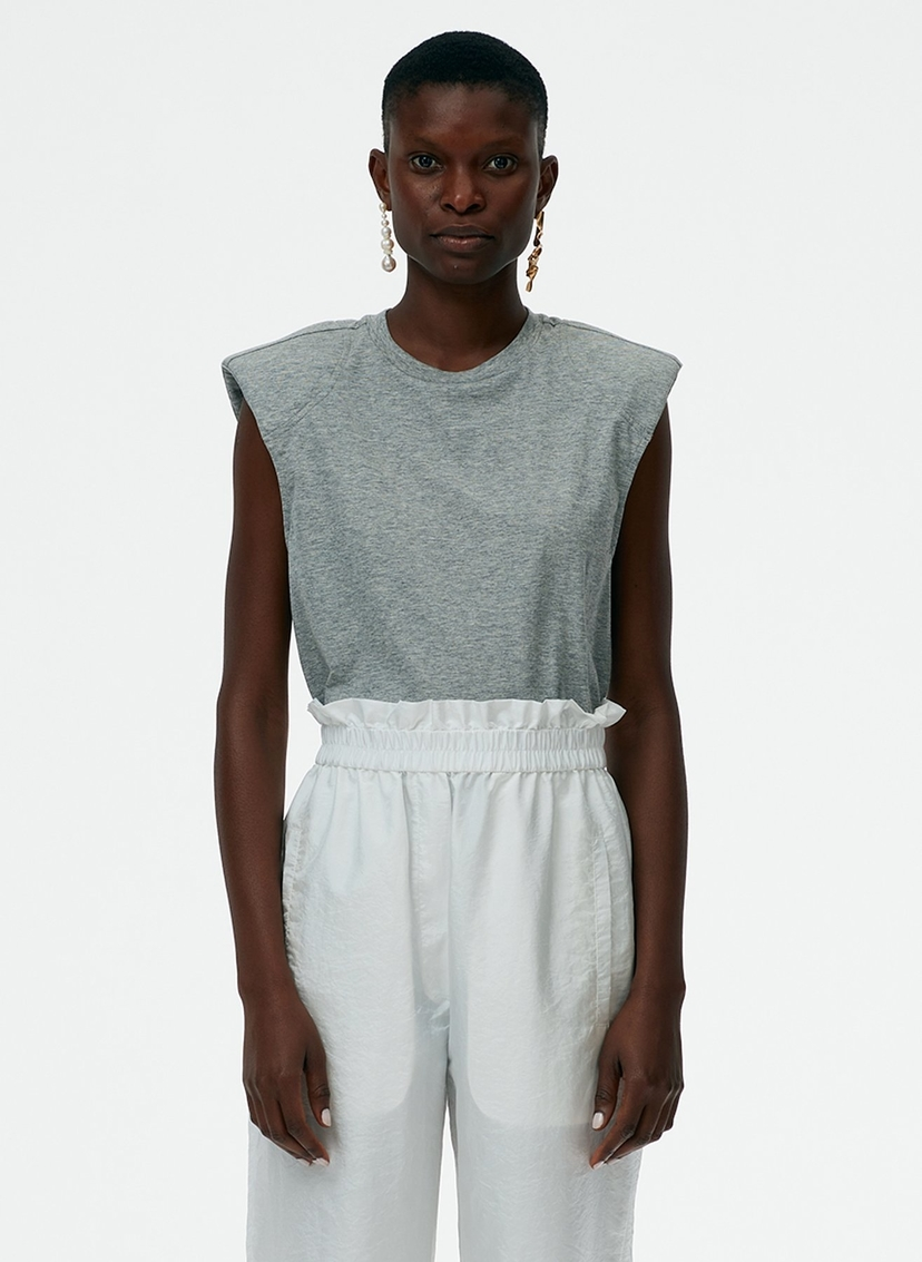 Tibi Tibi Padded Shoulder Sleeveless T-Shirt Tops