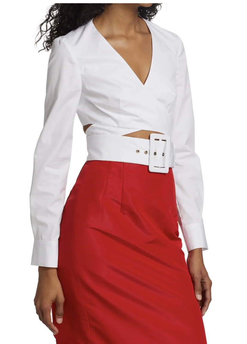 Rosie Assoulin Rosie Assoulin Wrapped Belted Crop Top Tops
