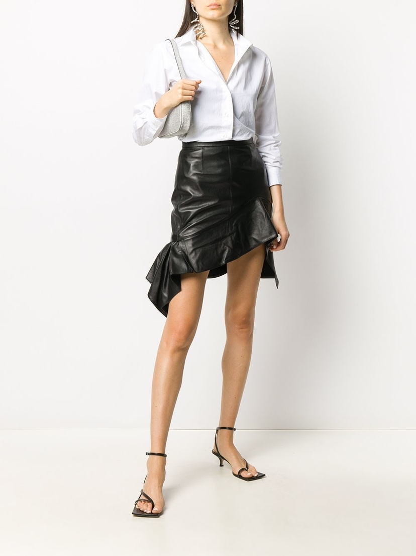 Alexander Wang Leather Ruche Asymmetric Hem Skirt Sale Skirts