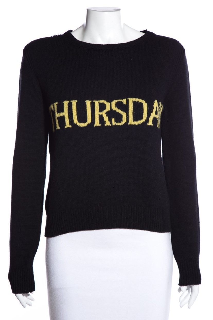 Alberta Ferretti Alberta Ferretti Black & Yellow 'Thursday' Sweater SZ 6 Sale