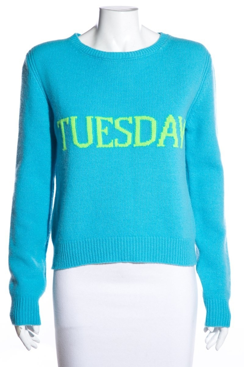 Alberta Ferretti Alberta Ferretti Blue & Green 'Tuesday' Sweater SZ 6 Sale