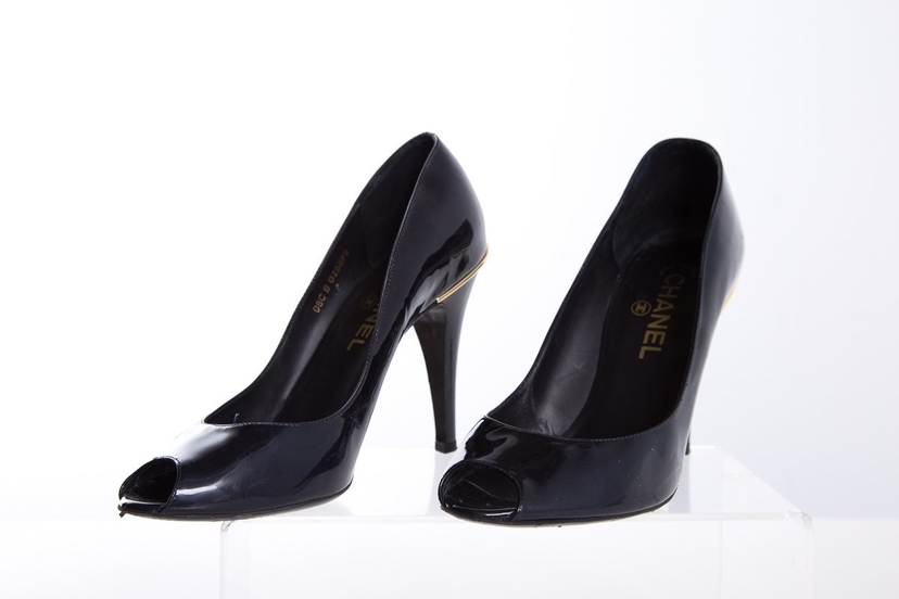 Chanel Chanel Navy Patent Leather Peep-Toe Pumps SZ 38.5 Shoes