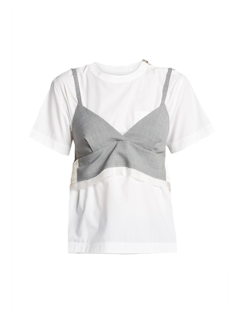 Sacai Tee With Bralette Short Sleeve Top Tops