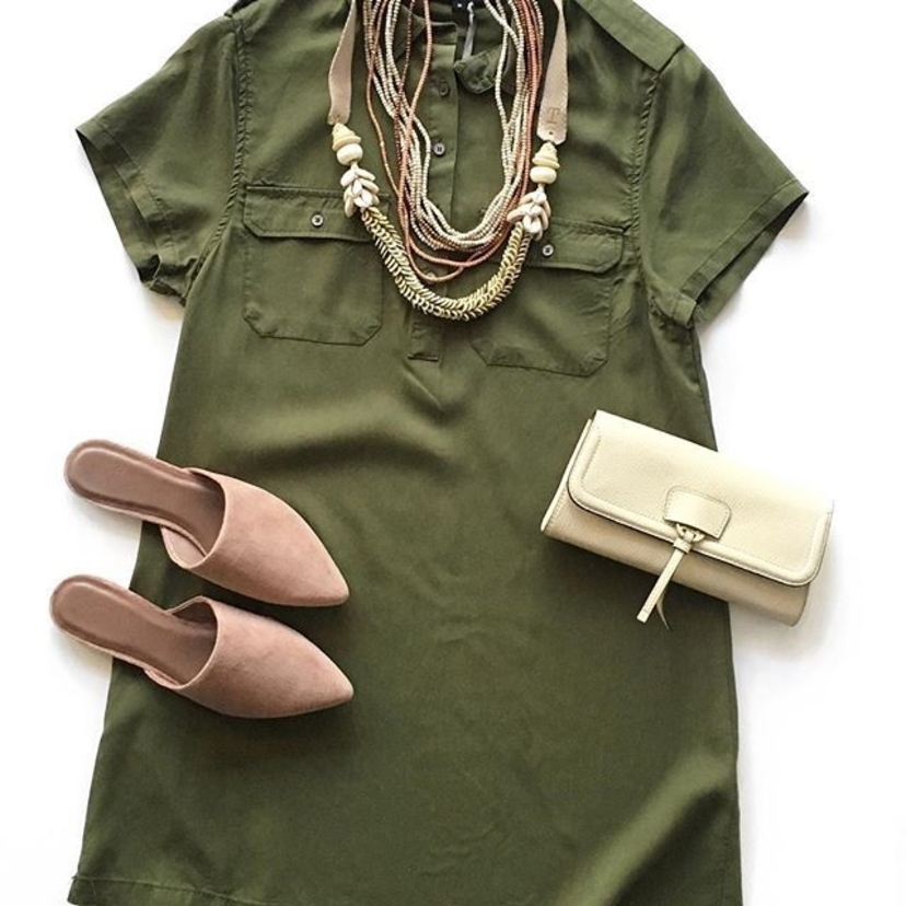 Military inspired shift dress Bags Dresses Jewelry