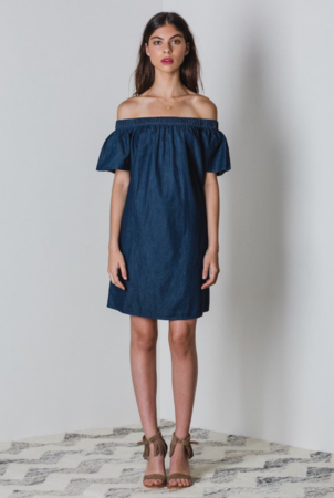 Chambray Off the Shoulder Dresses