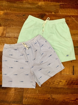 Southern Tide Seersucker Shark Trunk Swimwear