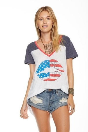 Chaser American Kiss Tee Sale Tops