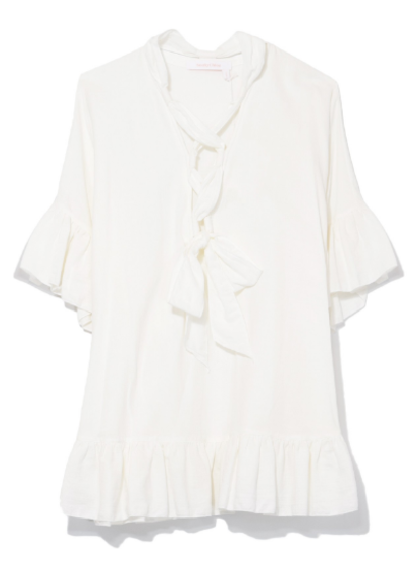 See by Chloé Cotton Short Sleeve Tie Blouse in White Tops