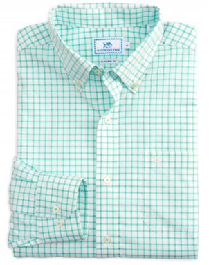 Southern Tide Tradewind Tattersall Sport Shirt in Offshore Green Tops
