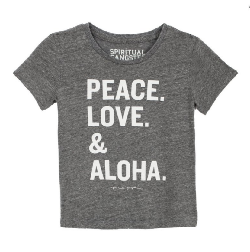 Spiritual Gangster Peace, Love, Aloha Kids Tee Kids Sale