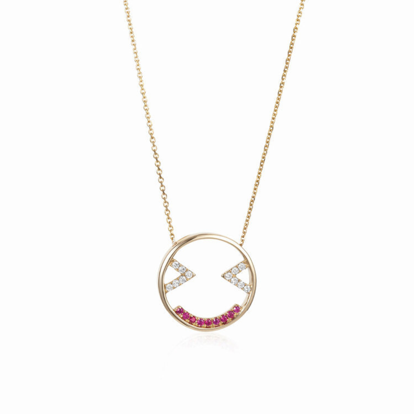 Ruifier Joyful Emoji Pendant Necklace Jewelry