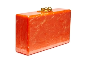 Edie Parker Jean Solid Clutch - Orange Bags