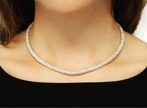 Gabrielle Jewelry Sterling Silver Rope Choker Jewelry