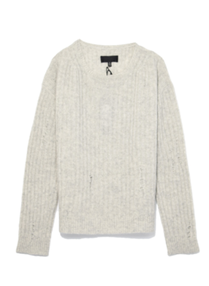 Nili Lotan Baxter Sweater in Light Grey Melange Tops