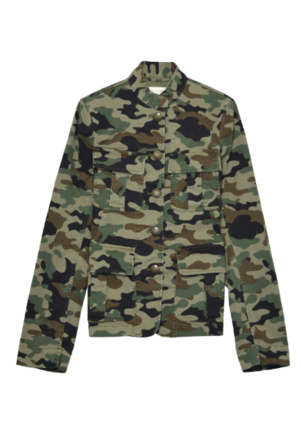 Nili Lotan Cambre Jacket in Light Green Camo Outerwear