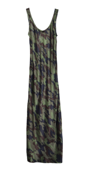 Nili Lotan Long Tank Dress in Dark Green Camo Dresses