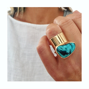 Fig. 7 14k Gold Turquoise & Cylinder Cuff Ring Jewelry