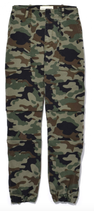 Nili Lotan Cropped French Military Pant in Light Green Camo Pants