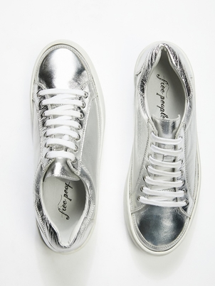 Free People Silver Letterman Sneakers Sale Shoes