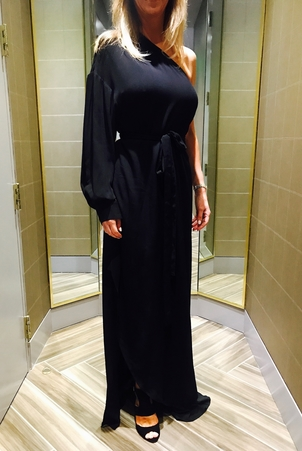 Rosetta Getty One Shoulder Wrap Gown Dresses