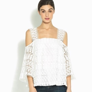 Shoshanna White Lace Top Tops